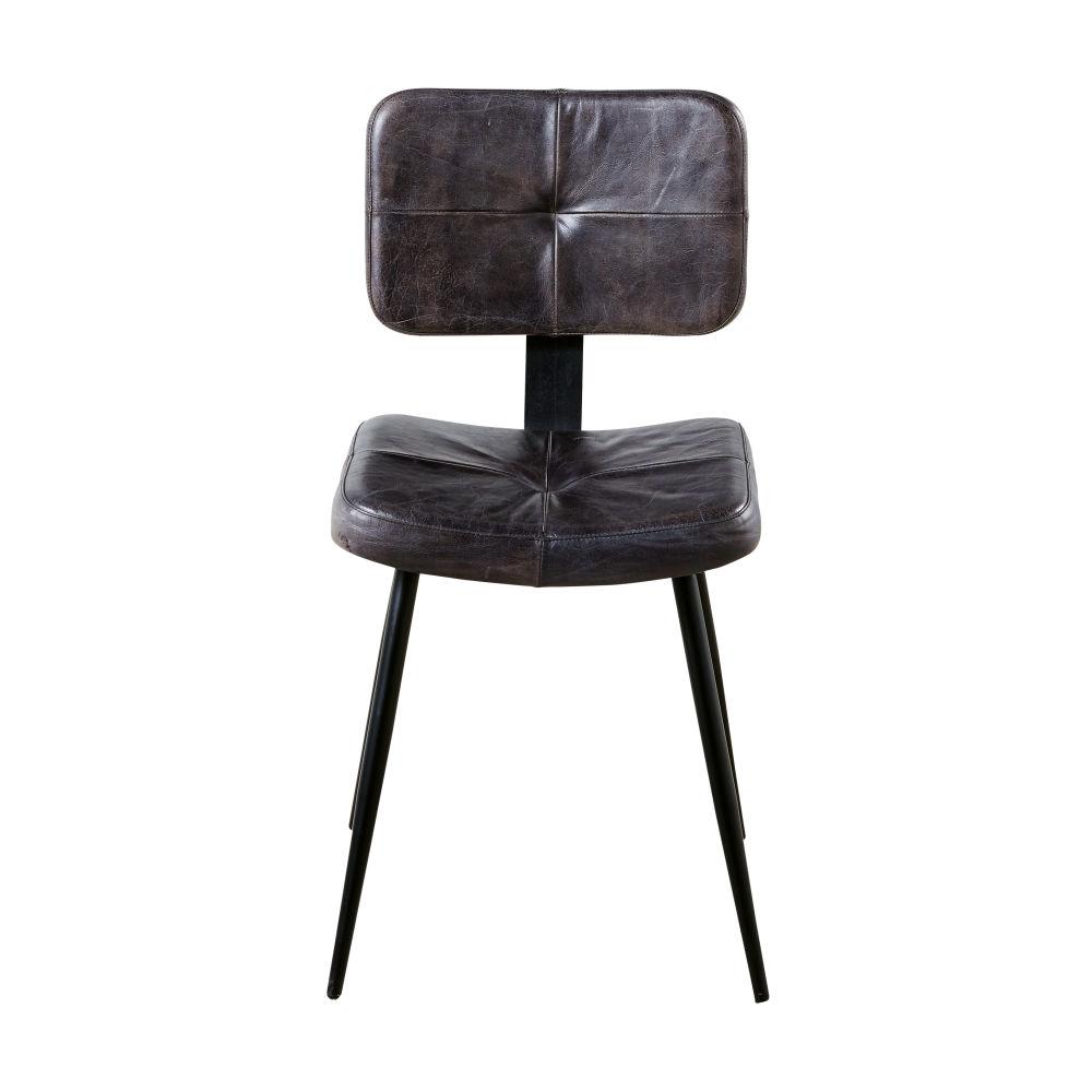 Chaise en cuir de buffle et métal noirs
