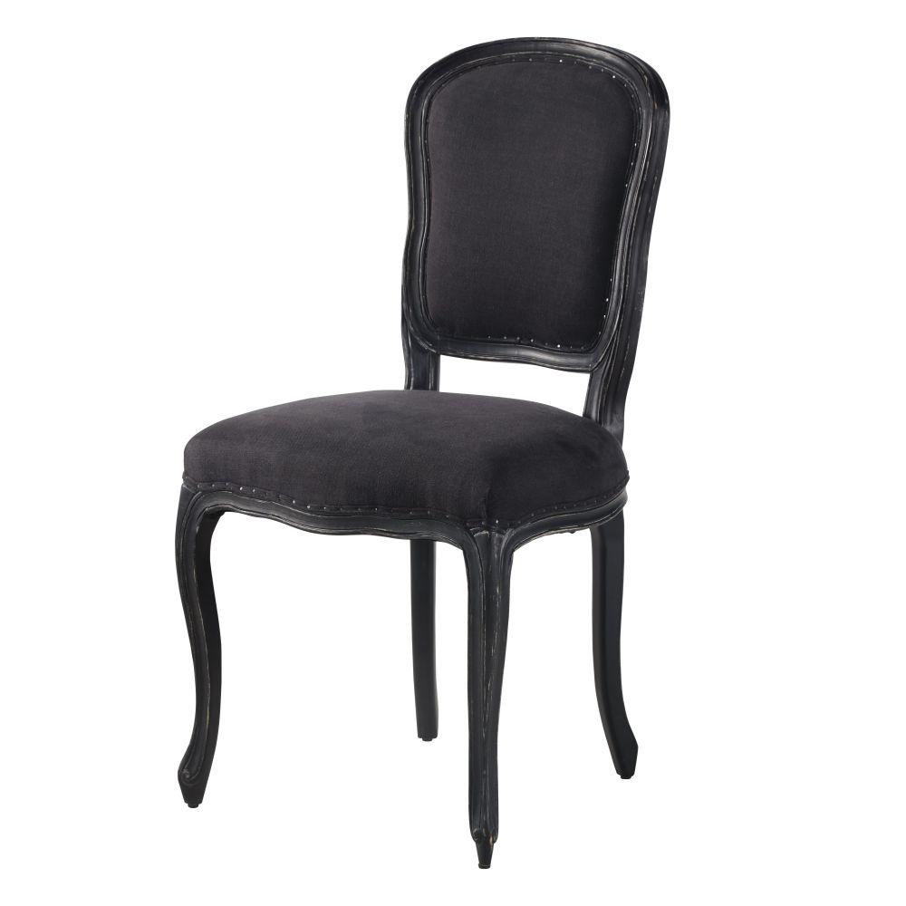 Chaise en lin gris anthracite, jute et peuplier