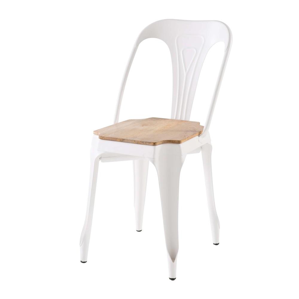 Chaise en métal blanc et manguier
