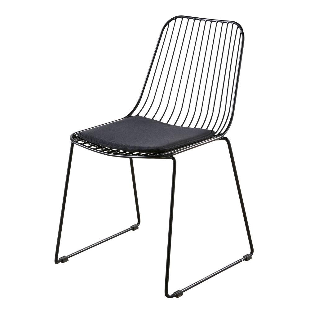 Chaise en métal et coton noirs