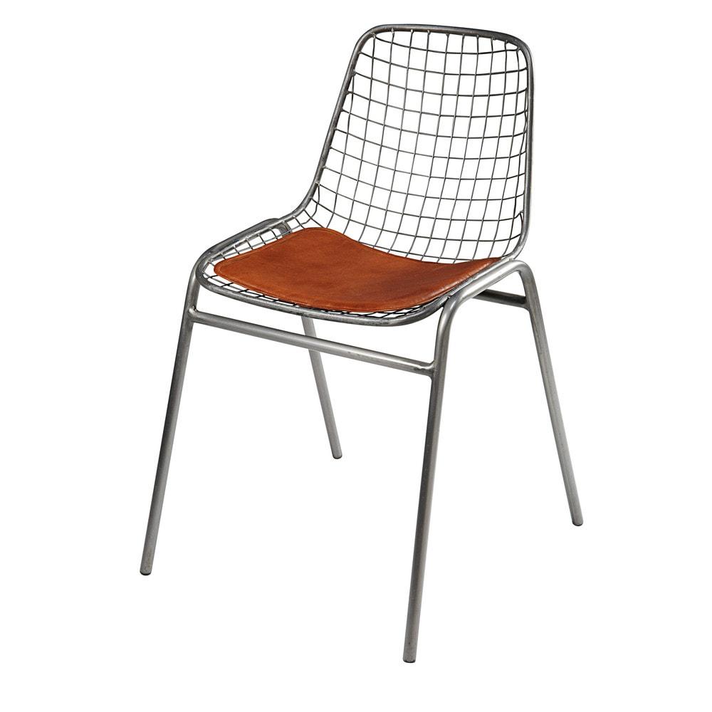 Chaise en métal et cuir de vachette camel