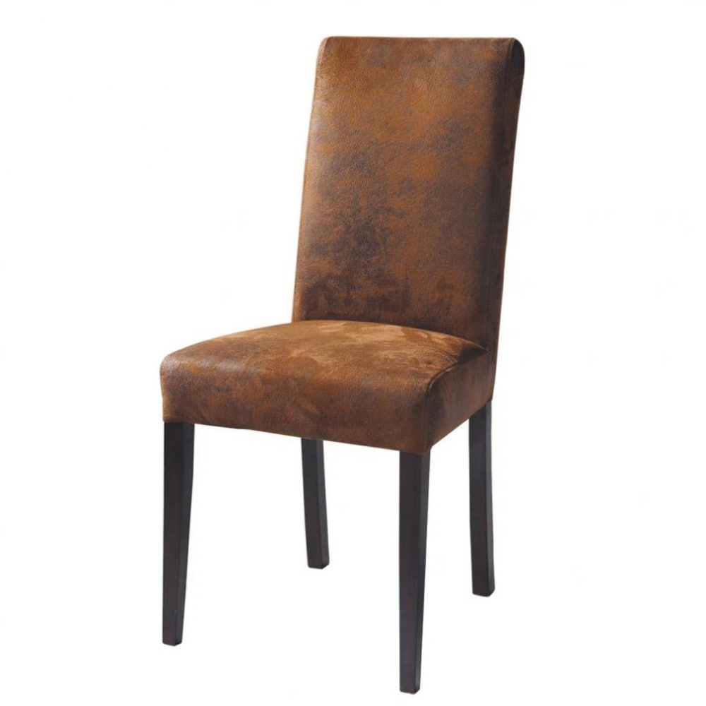 Chaise en microsuède marron