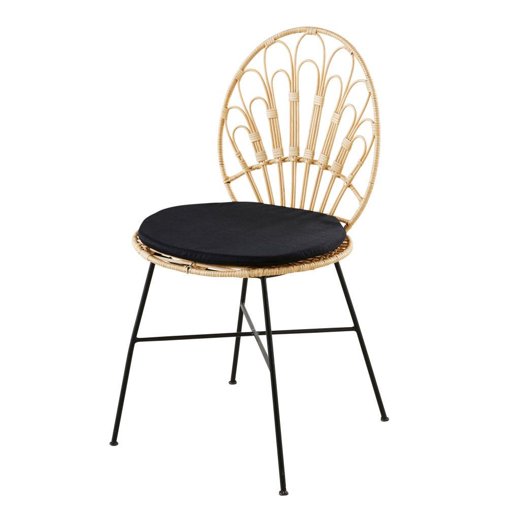 Chaise en rotin et métal noir