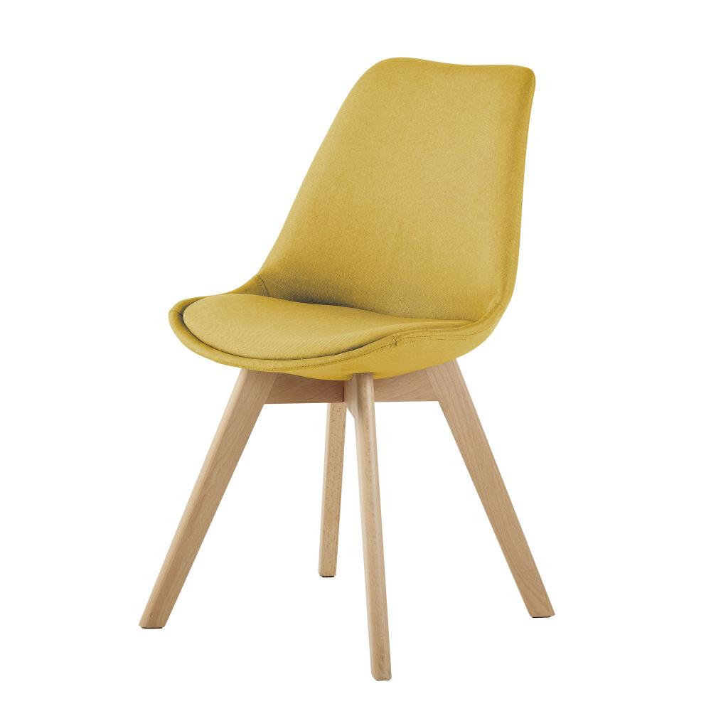 Chaise en tissu jaune ocre et hêtre