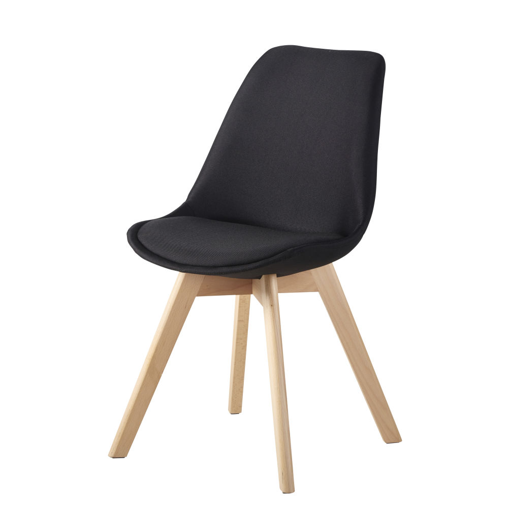Chaise en tissu noir intense et hêtre