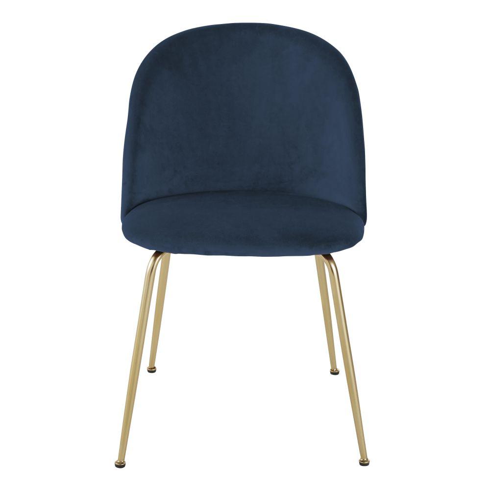 Chaise en velours bleu foncé