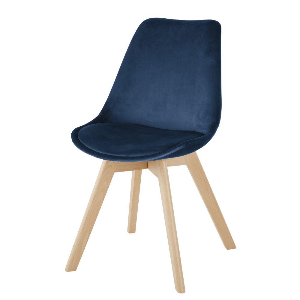 Chaise en velours bleu pétrole et hêtre