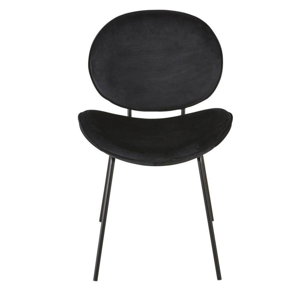 Chaise en velours et métal noirs