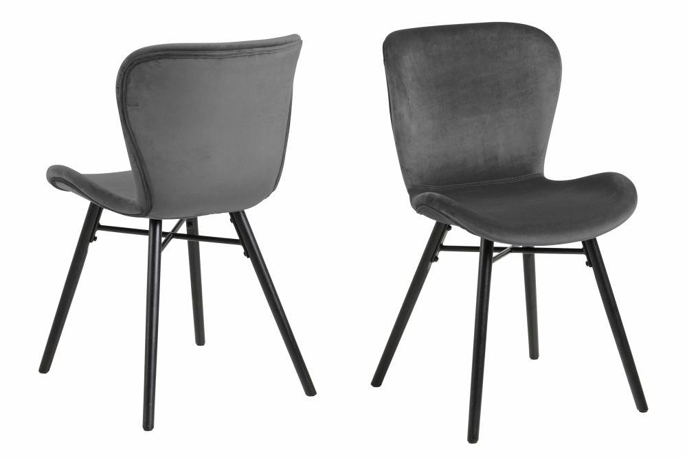 Chaise en velours gris anthracite et pieds en hévéa noir