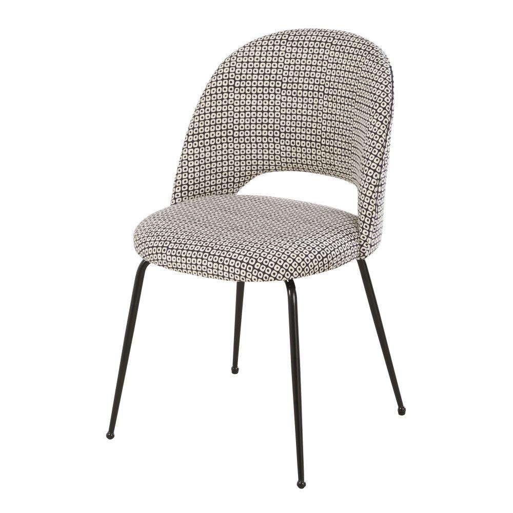 Chaise en velours imprimé noir et blanc et métal noir