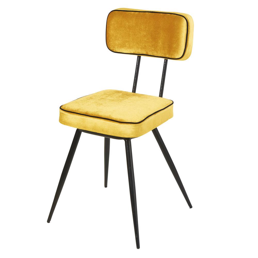 Chaise en velours jaune et métal noir