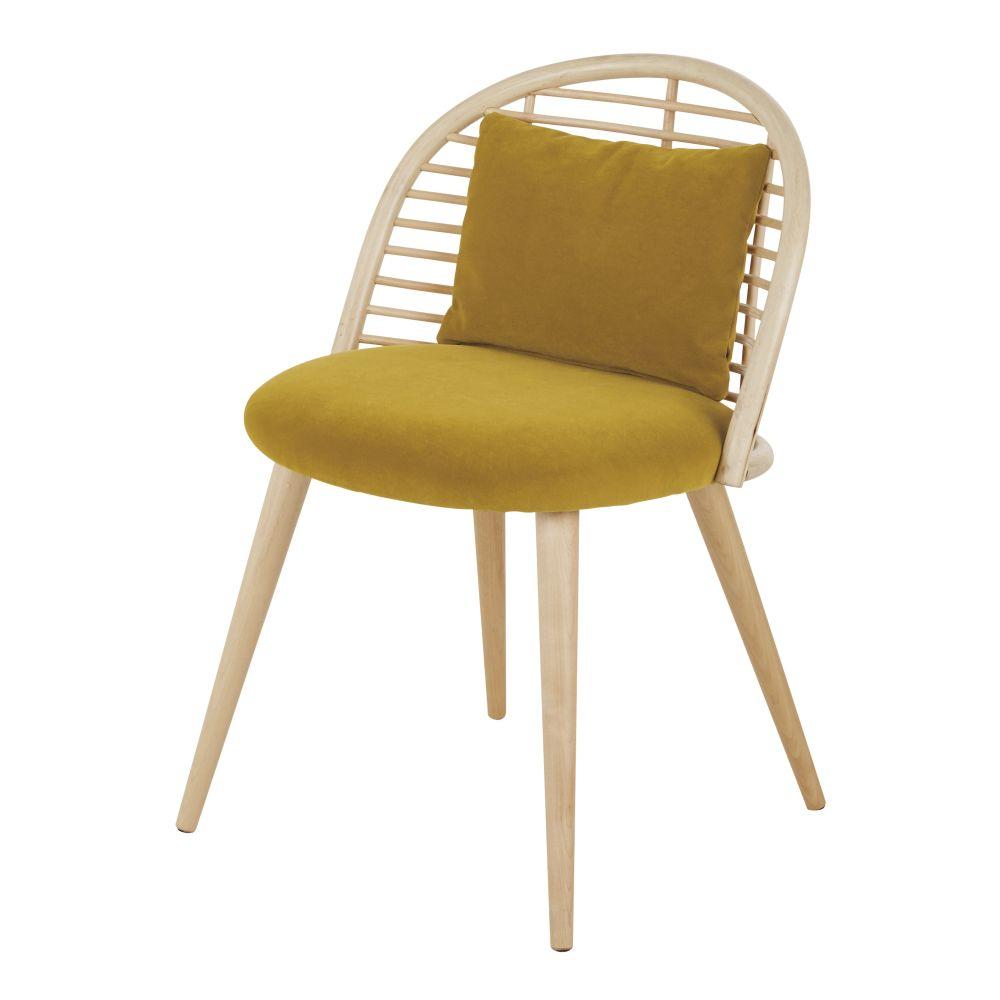 Chaise en velours jaune ocre, rotin et bouleau