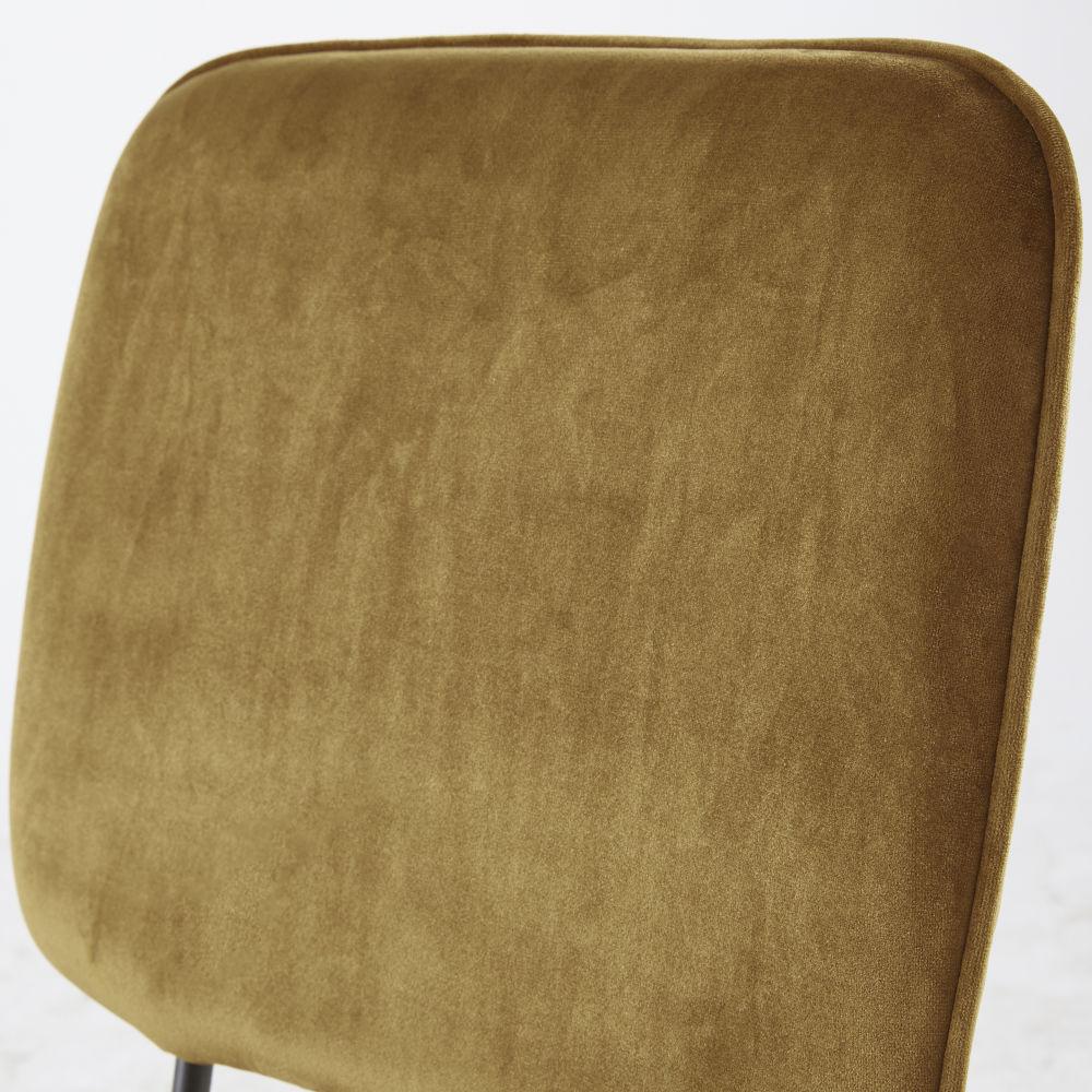 Chaise en velours ocre et métal noir