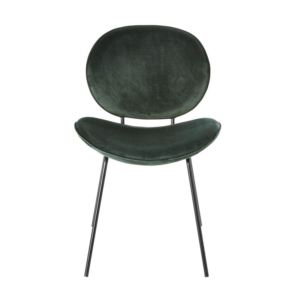 Chaise en velours vert et métal noir