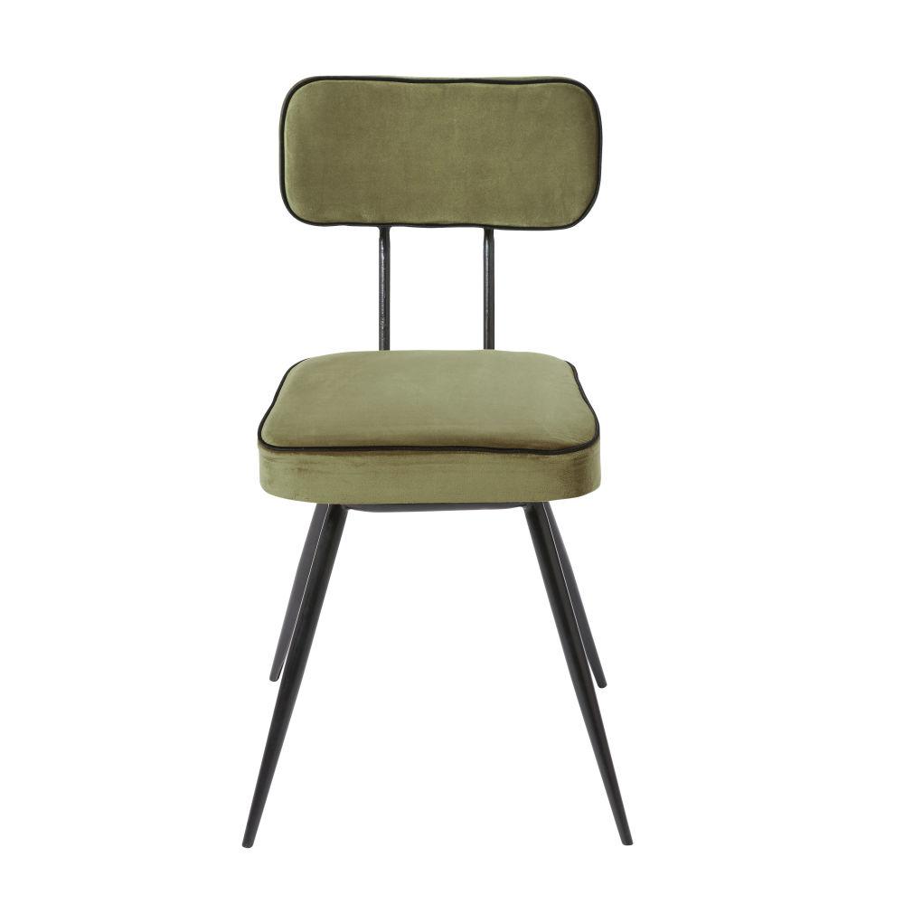 Chaise en velours vert kaki et métal noir