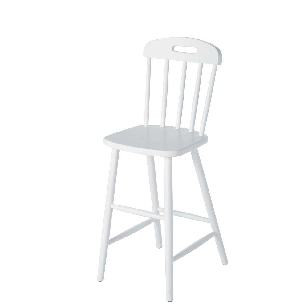 Chaise enfant haute vintage en hêtre blanc