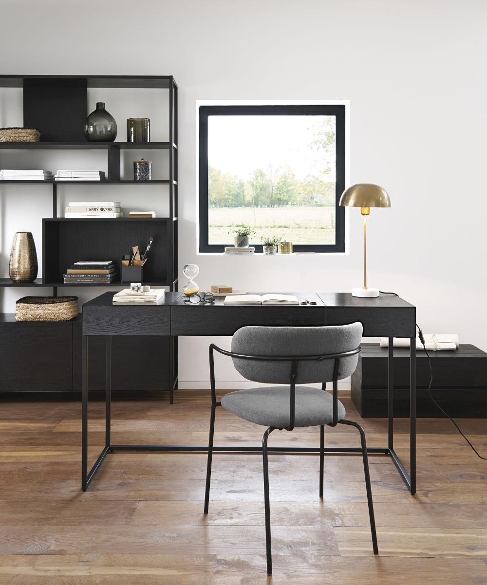 Chaise gris anthracite et métal noir mat