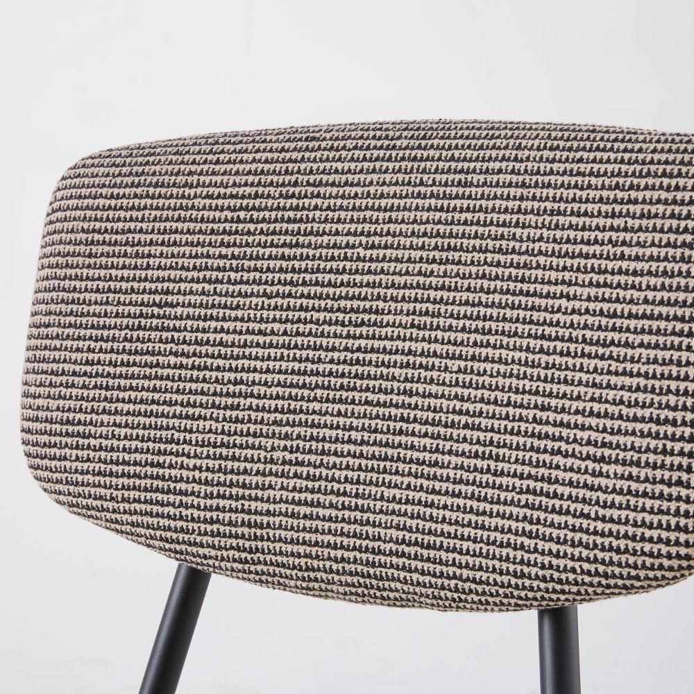 Chaise imprimé noir et blanc et métal noir mat