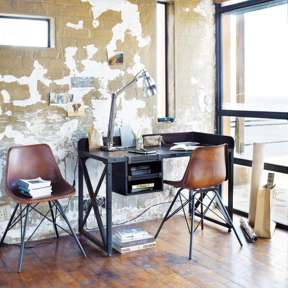Chaise indus en cuir marron