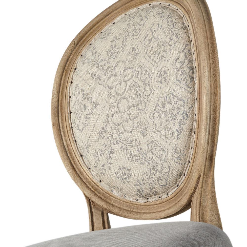 Chaise médaillon en lin vert kaki à motifs, gris et chêne effet vieilli