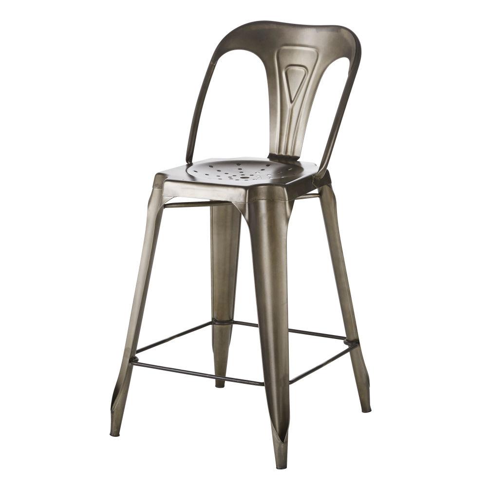 Chaise pour îlot central en métal gris vieilli