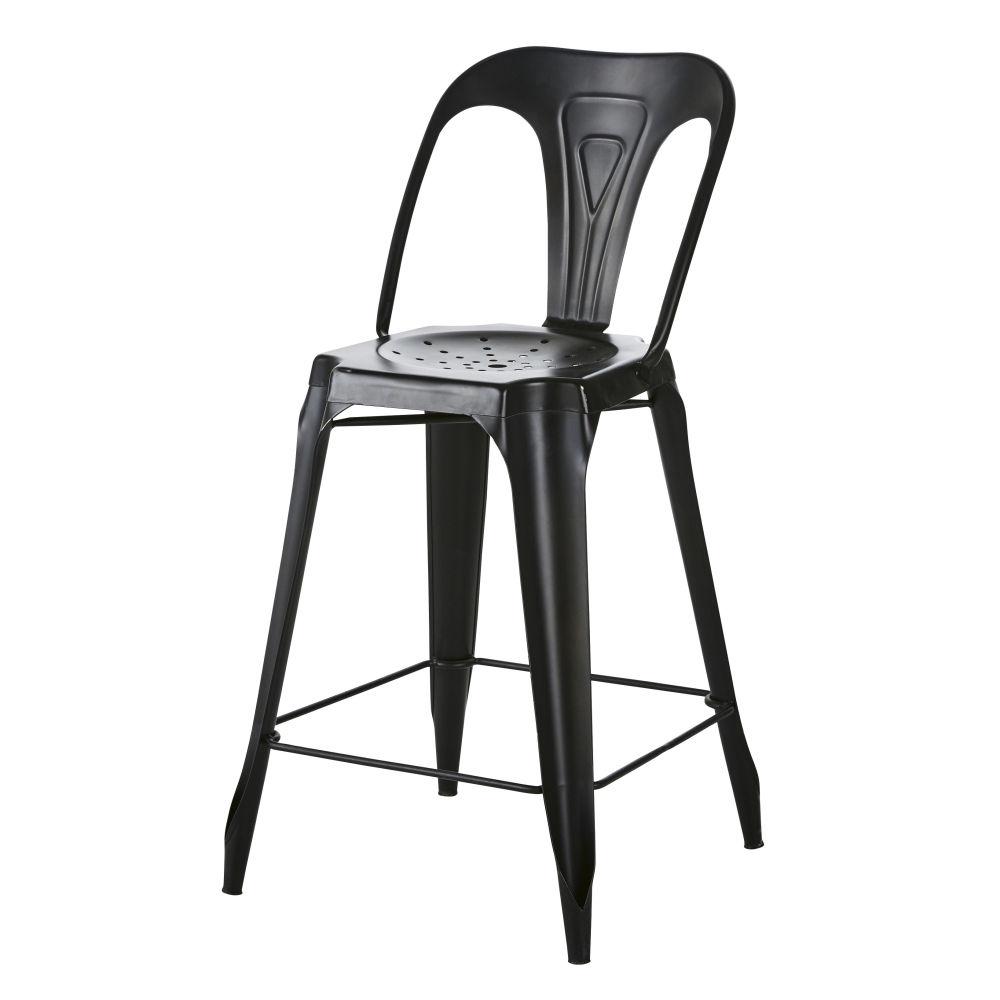 Chaise pour îlot central en métal noir vieilli