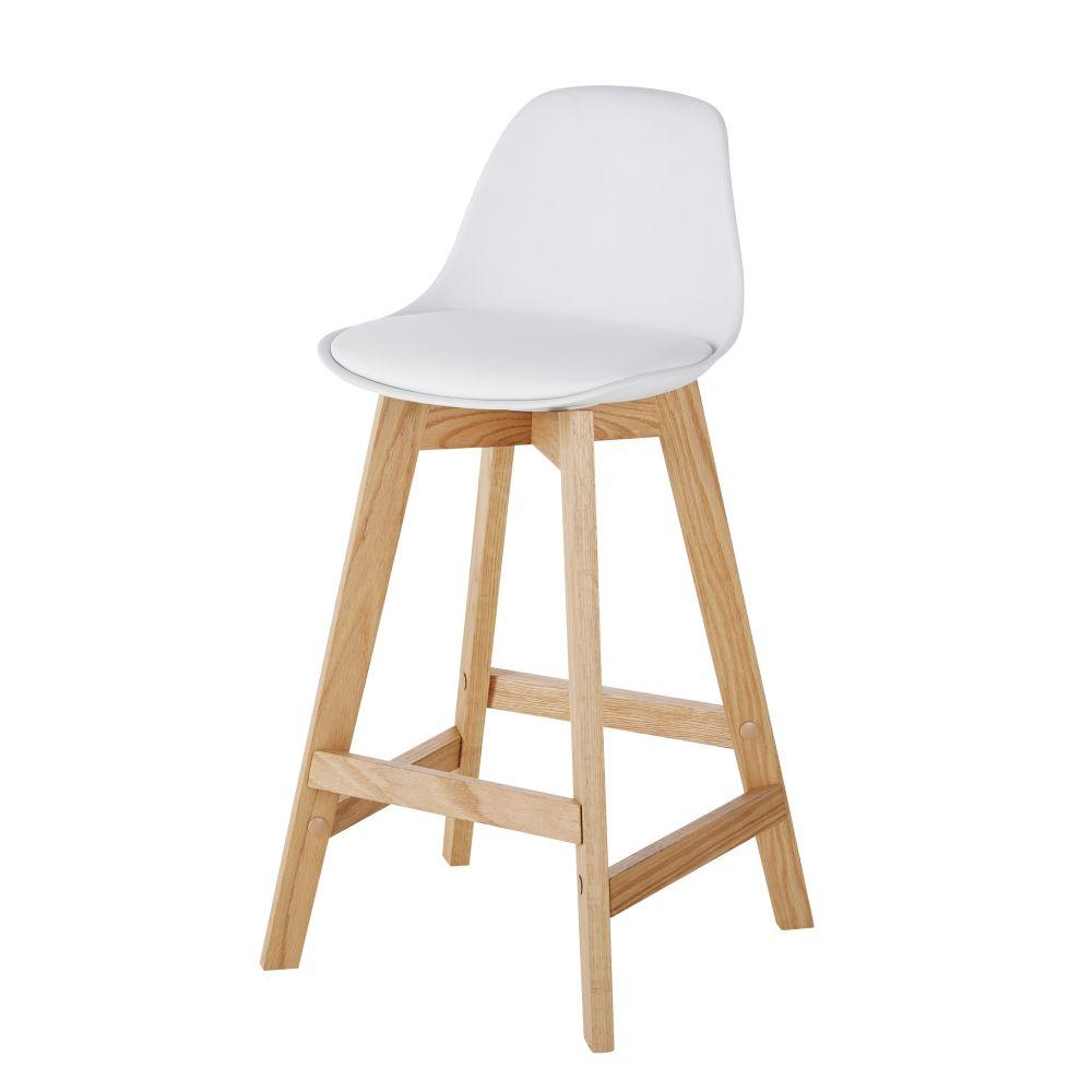 Chaise pour îlot central style scandinave blanche et chêne