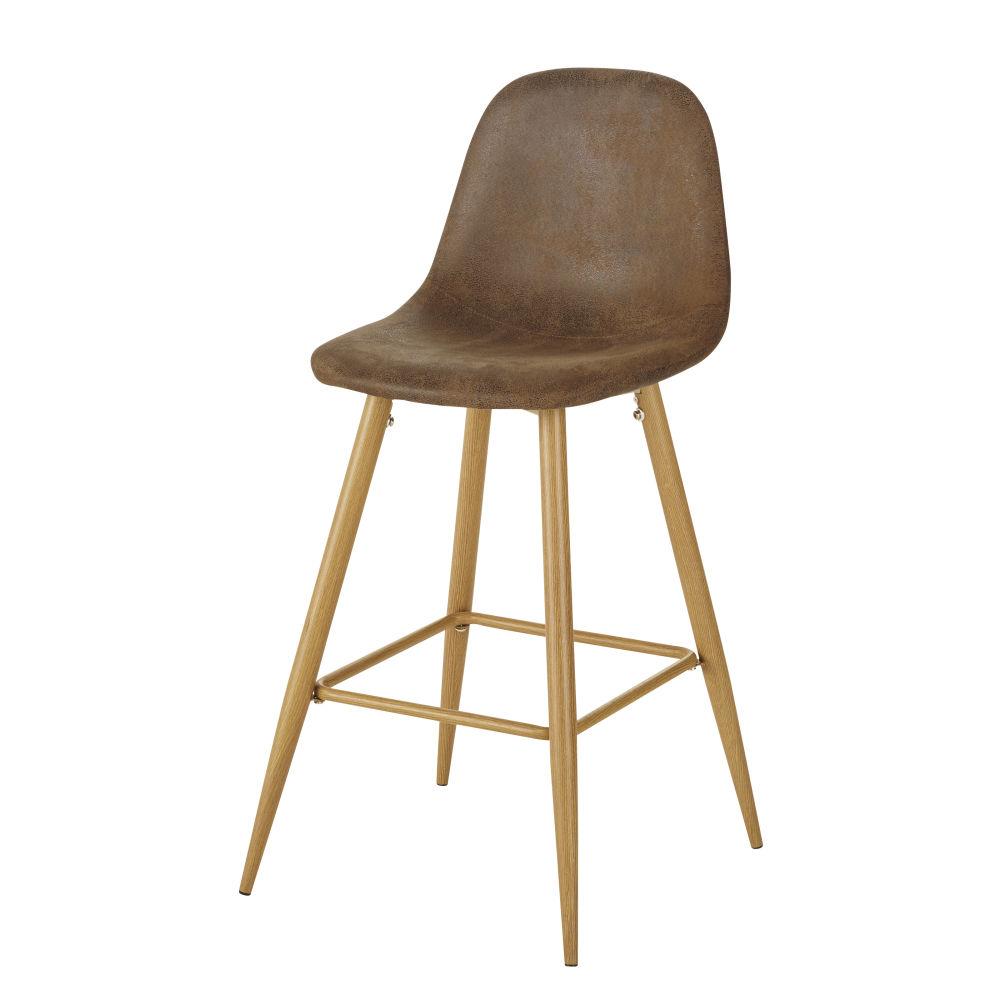 Chaise pour îlot central style scandinave en suédine marron effet vieilli