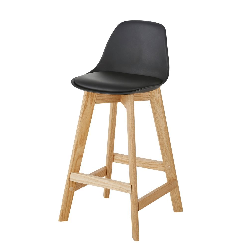 Chaise pour îlot central style scandinave noire et chêne