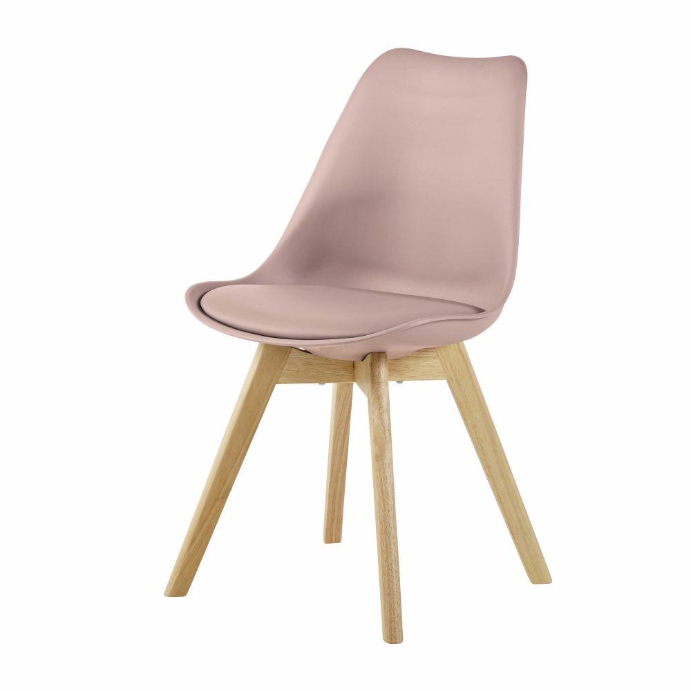 Chaise style scandinave beige rosé et hévéa