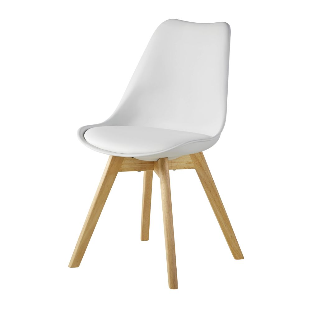Chaise style scandinave blanc éclatant et hévéa