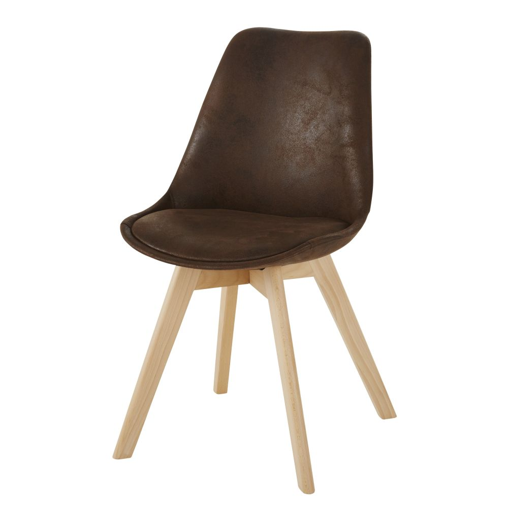 Chaise style scandinave en suédine marron vintage et hévéa