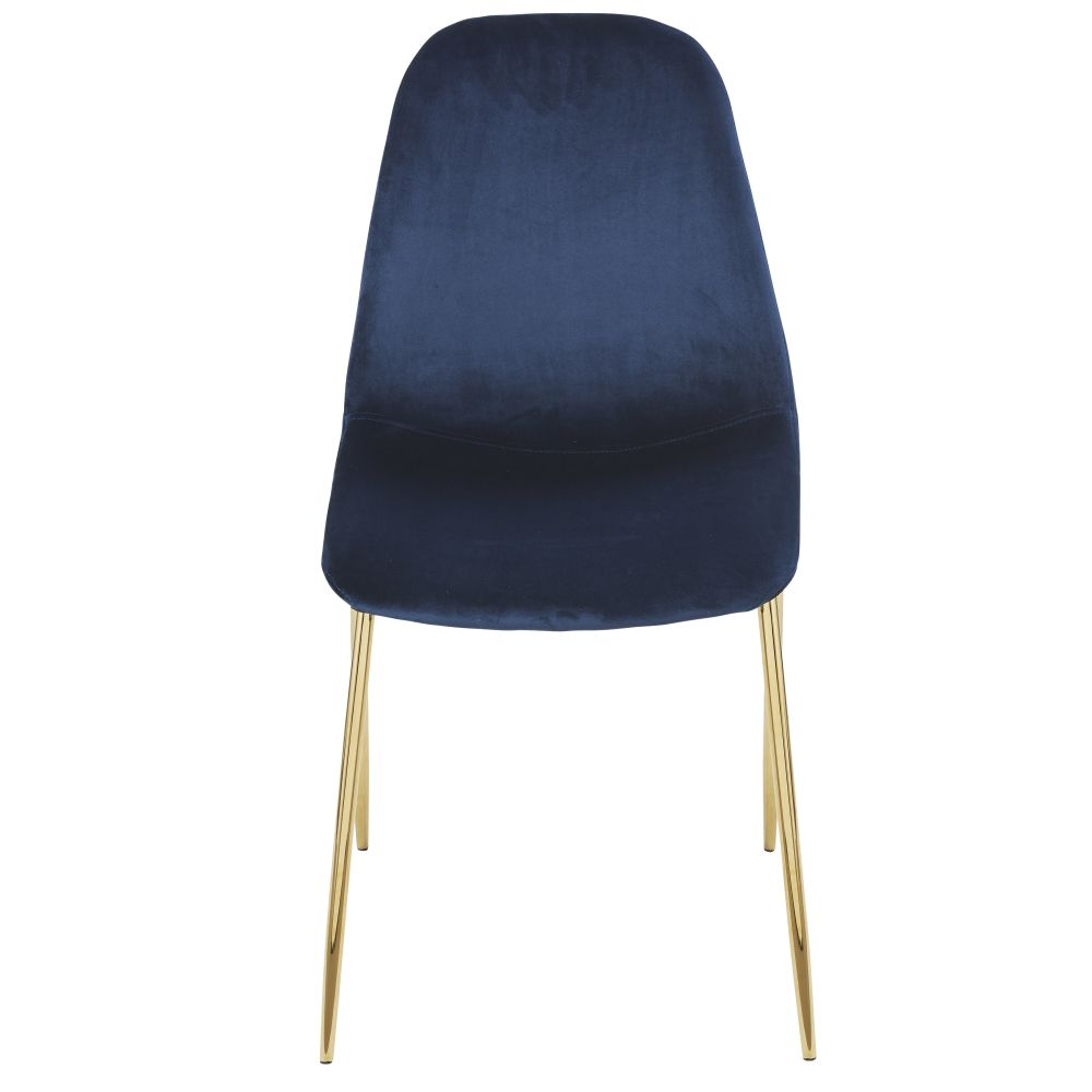 Chaise style scandinave en velours bleu nuit