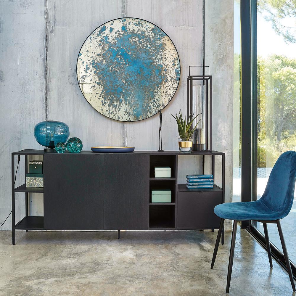 Chaise style scandinave en velours bleu turquoise