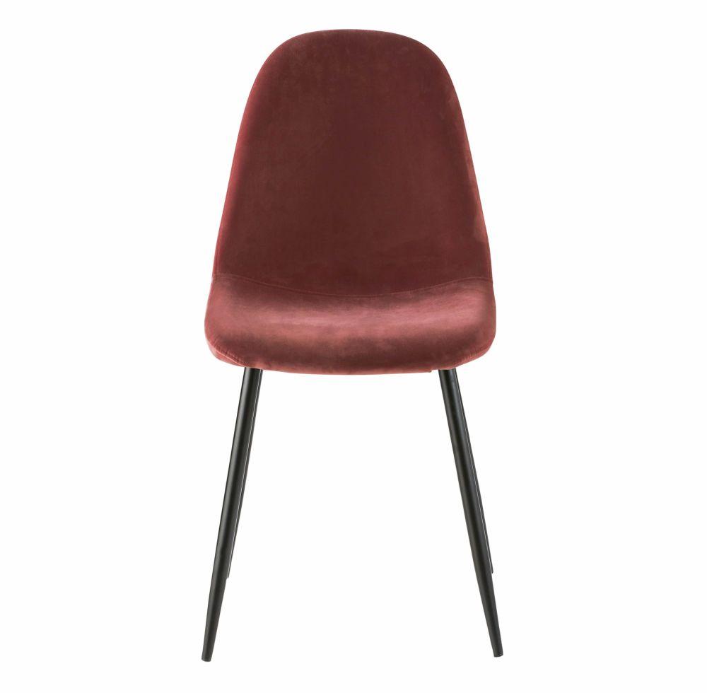 Chaise style scandinave en velours terracotta