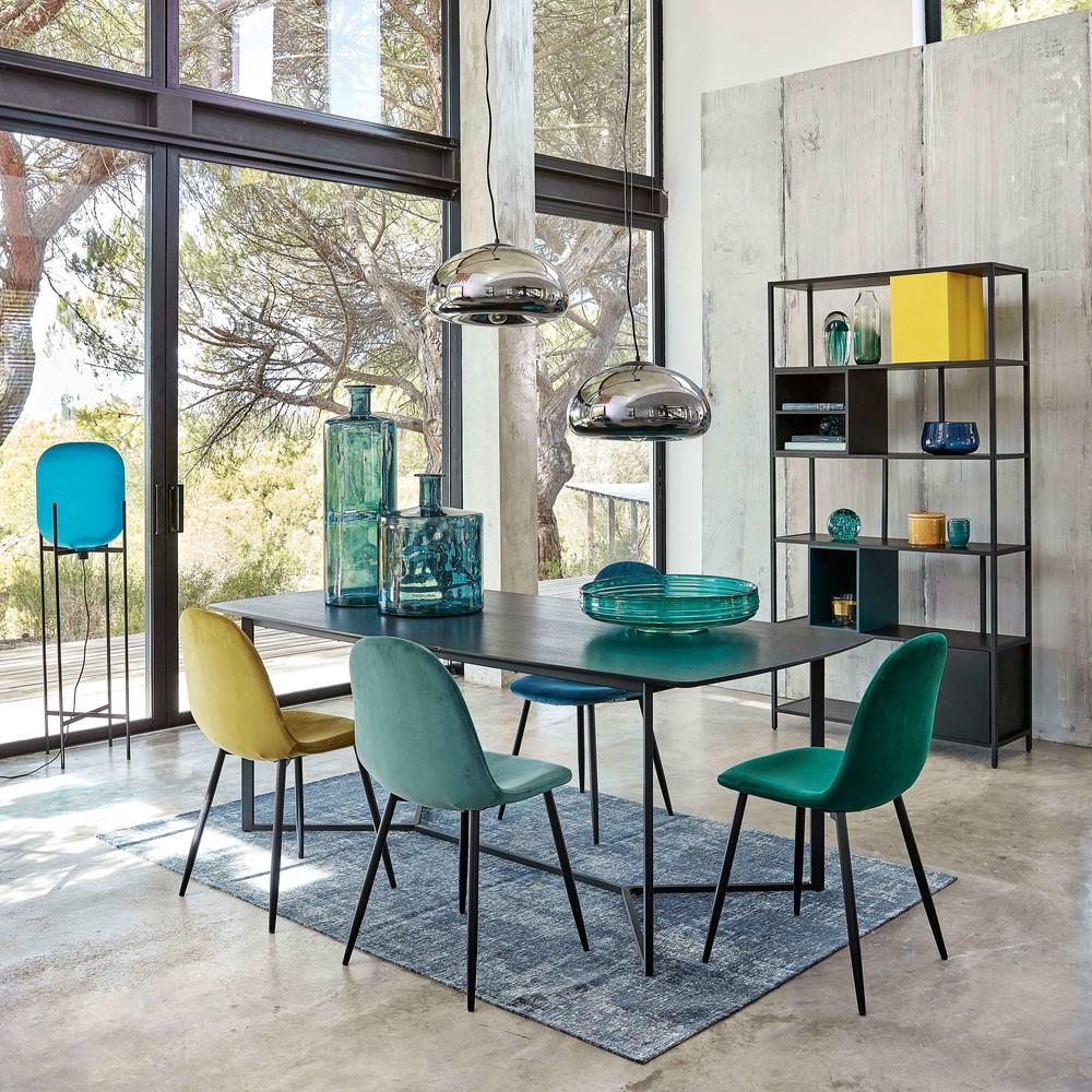 Chaise style scandinave en velours vert