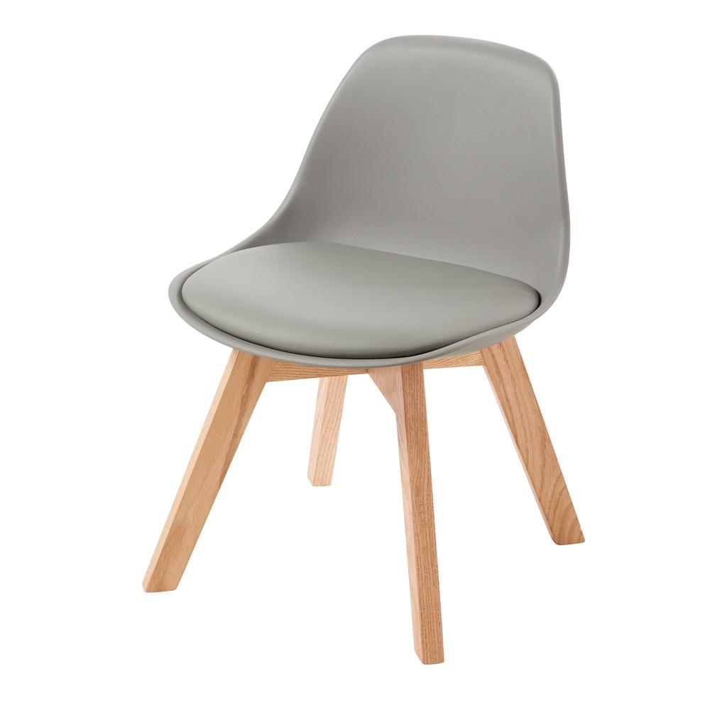 Chaise style scandinave enfant grise et chêne
