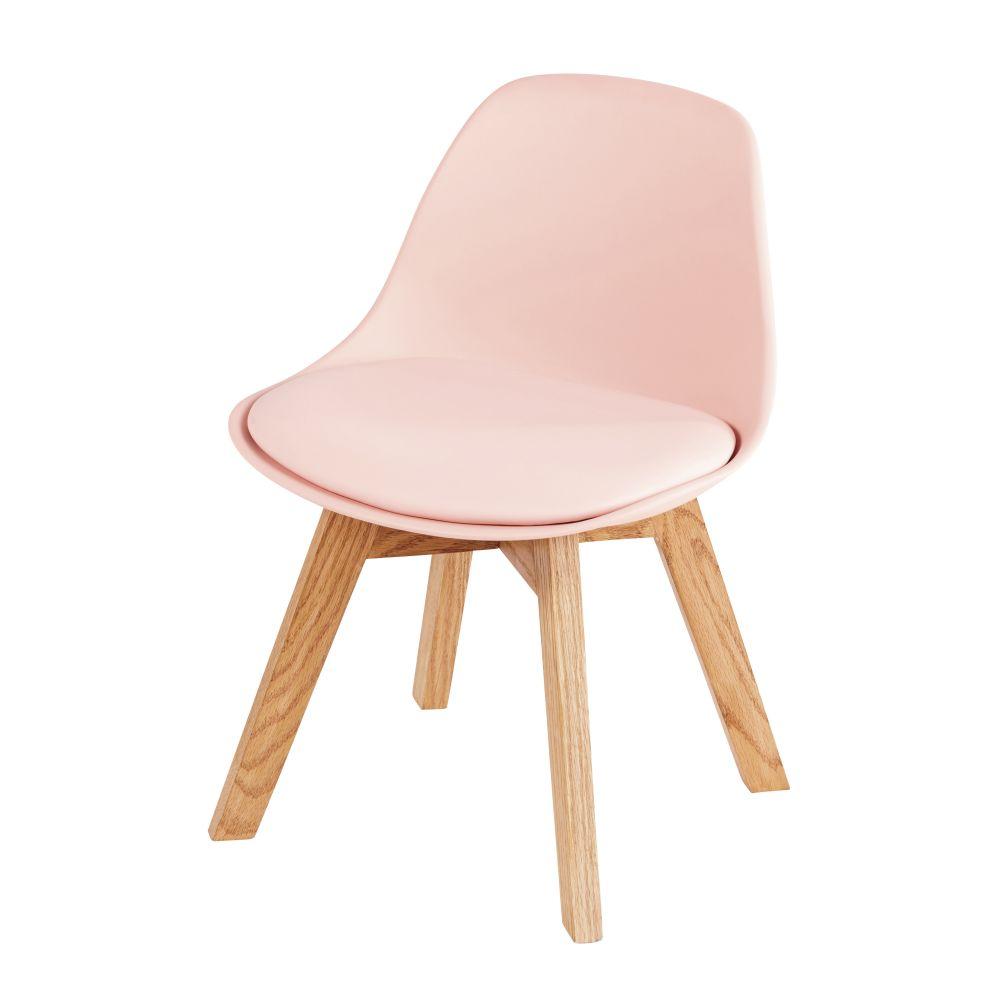 Chaise style scandinave enfant rose et chêne