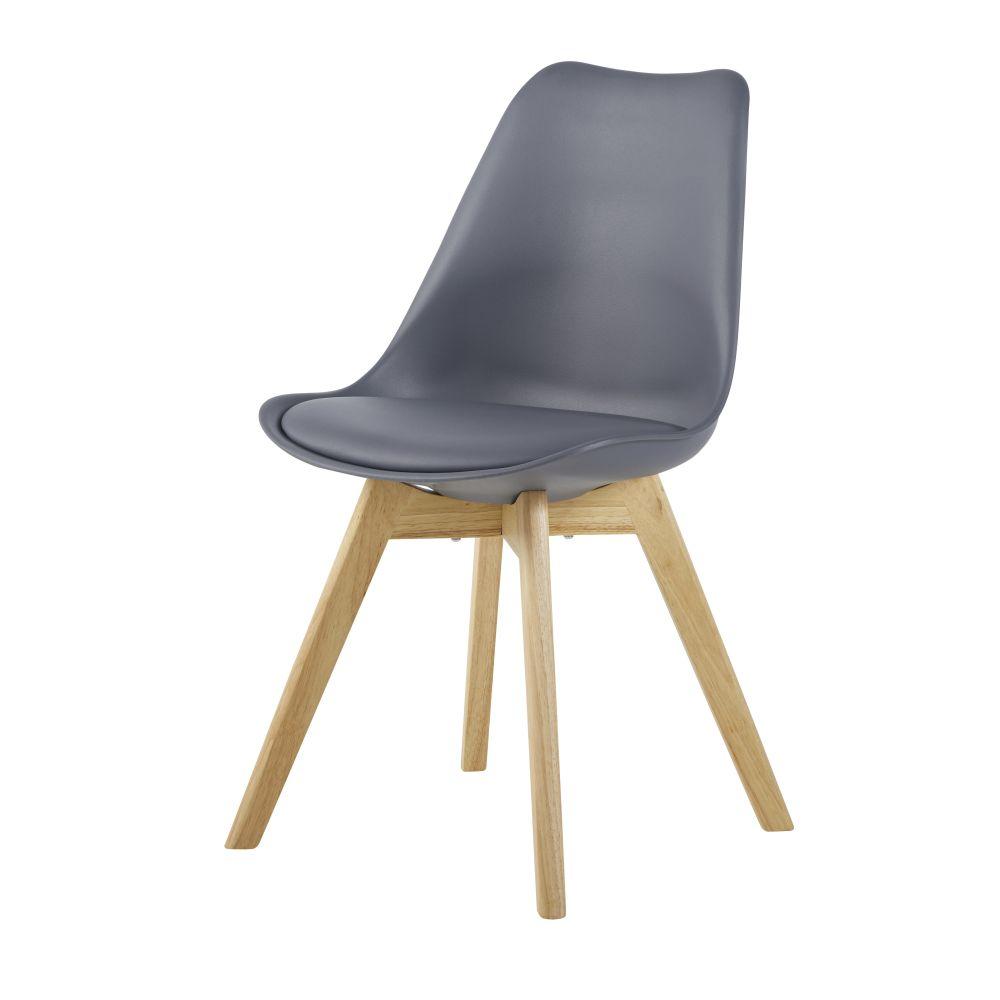 Chaise style scandinave gris moyen et hévéa