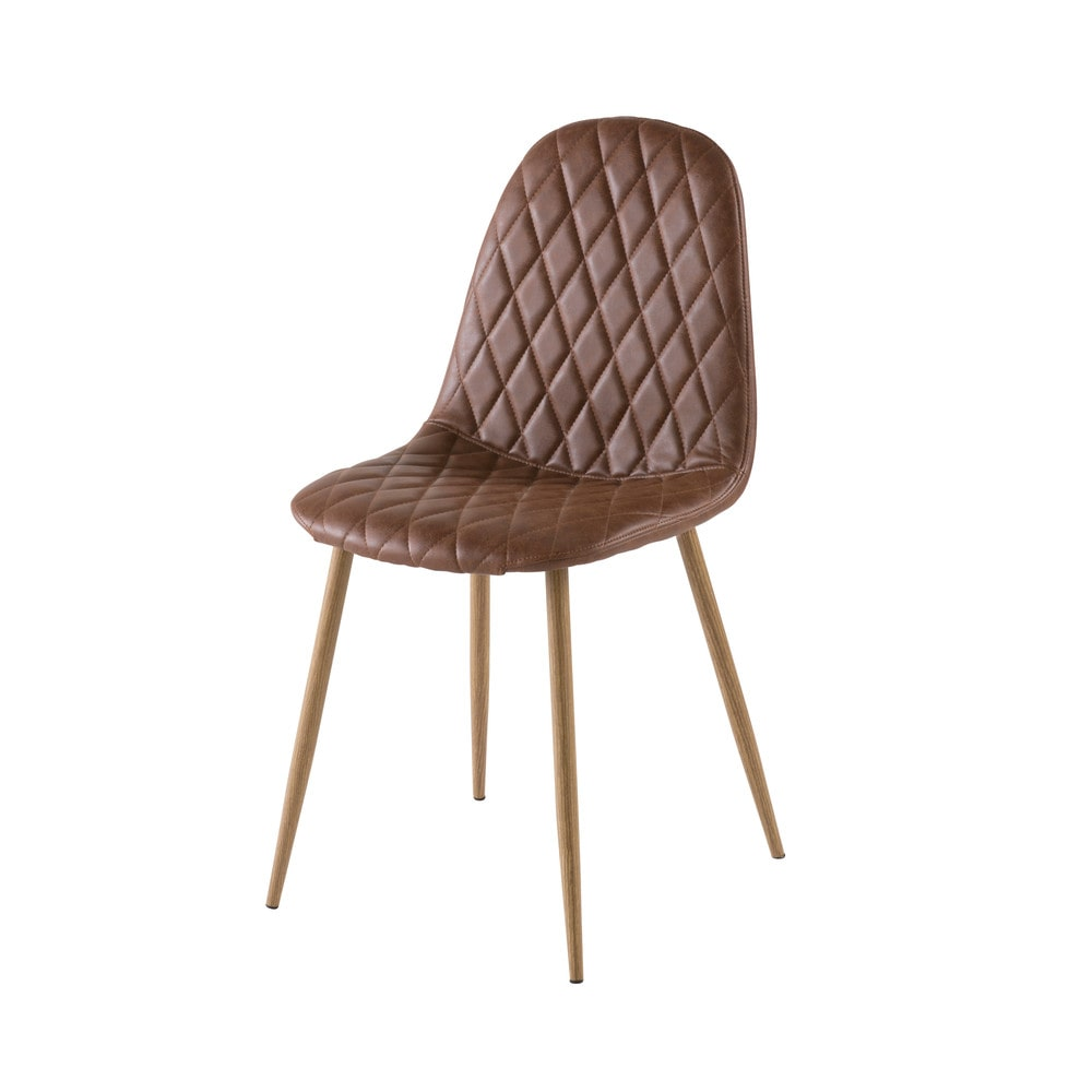 Chaise style scandinave matelassée camel