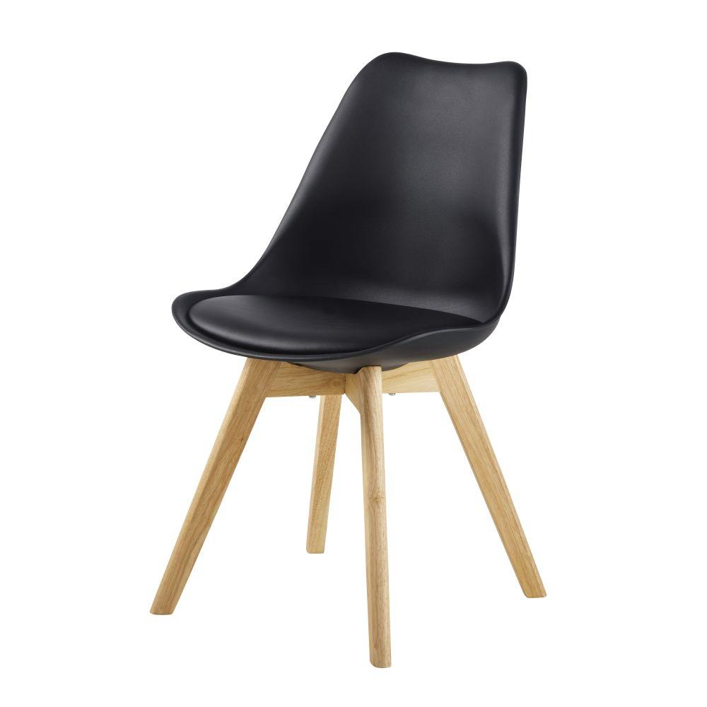 Chaise style scandinave noir ébène et hévéa