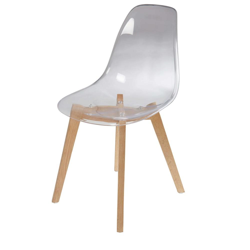 Chaise style scandinave transparente et chêne