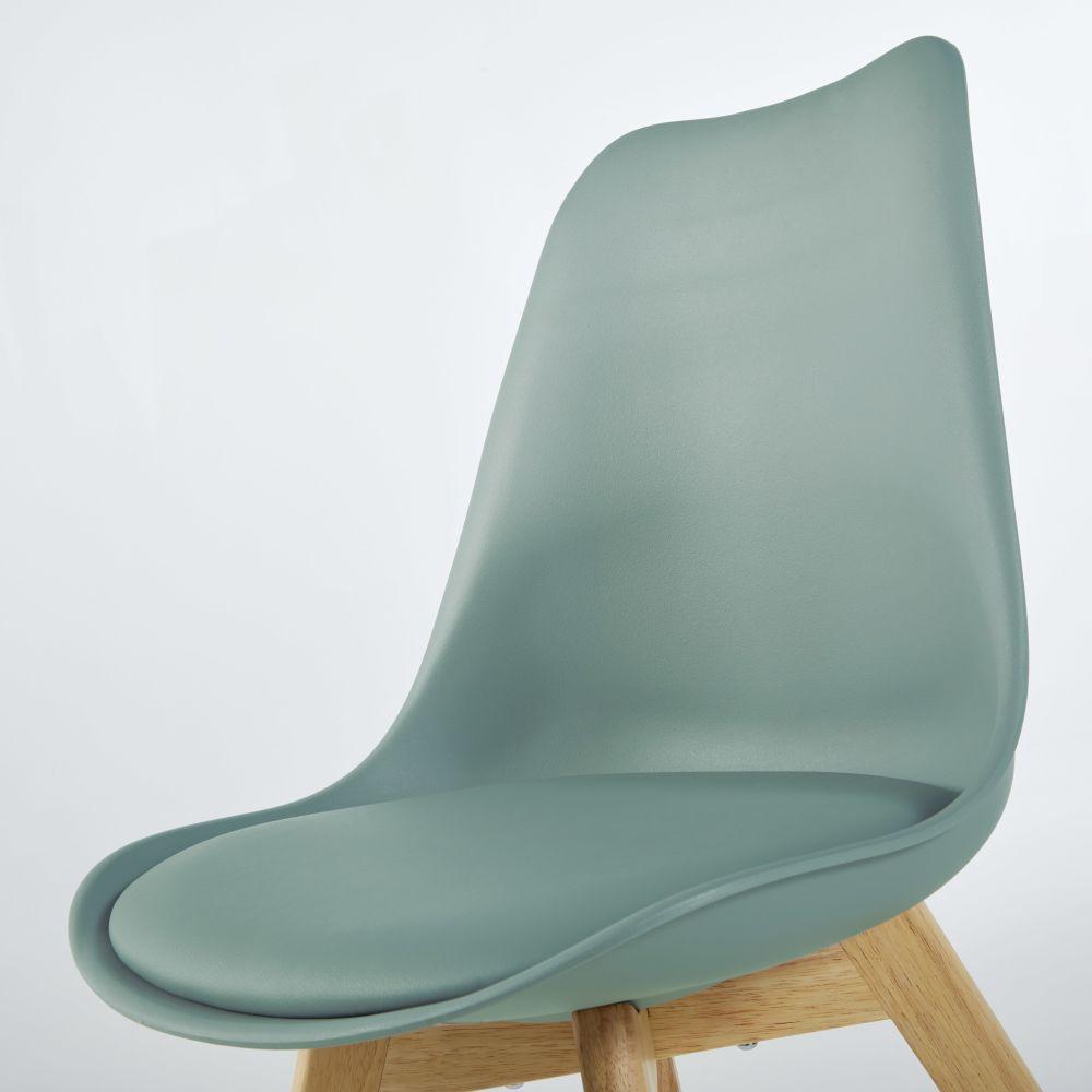 Chaise style scandinave vert sauge et hévéa