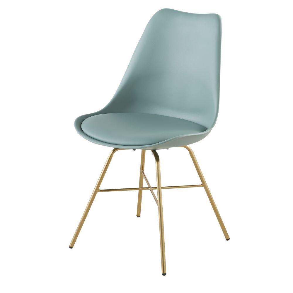 Chaise verte et pieds en métal chromé doré