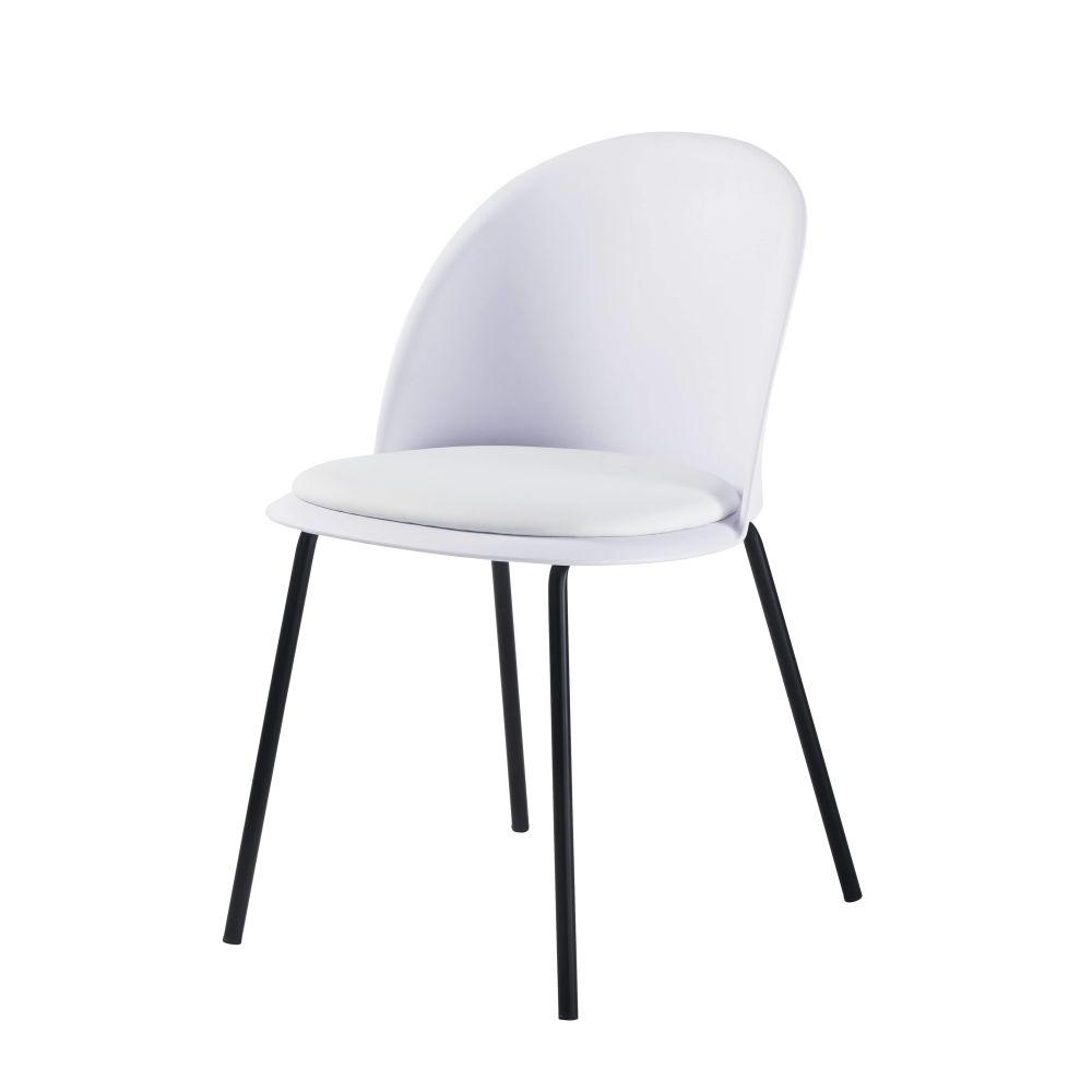 Chaise vintage blanche et métal noir