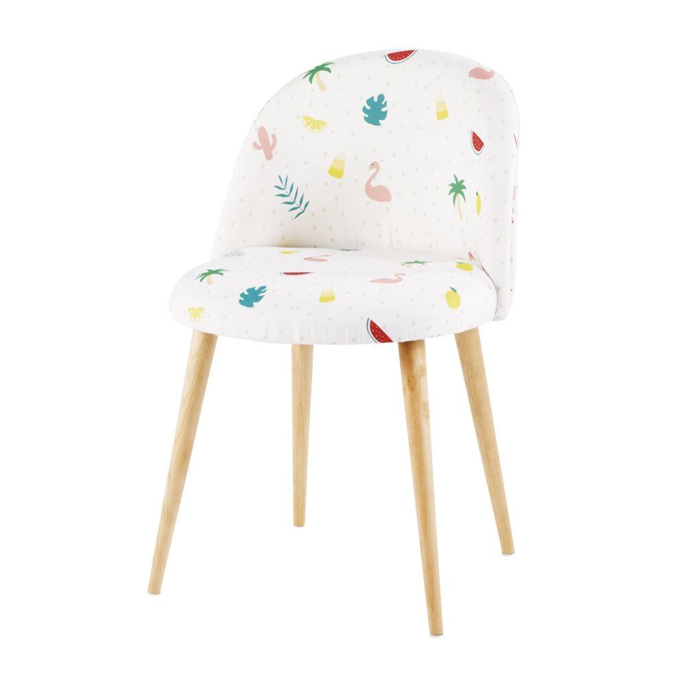 Chaise vintage blanche imprimé tropical et bouleau massif