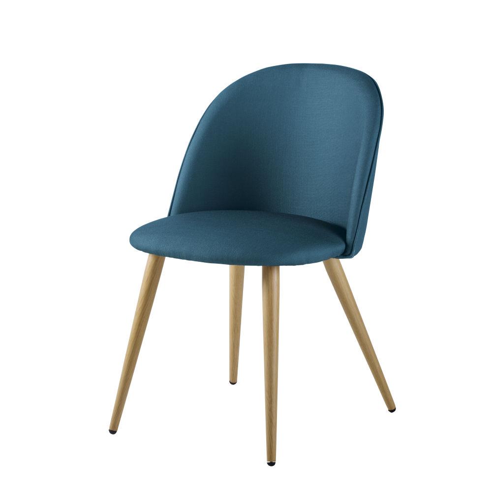 Chaise vintage bleu canard et métal imitation chêne
