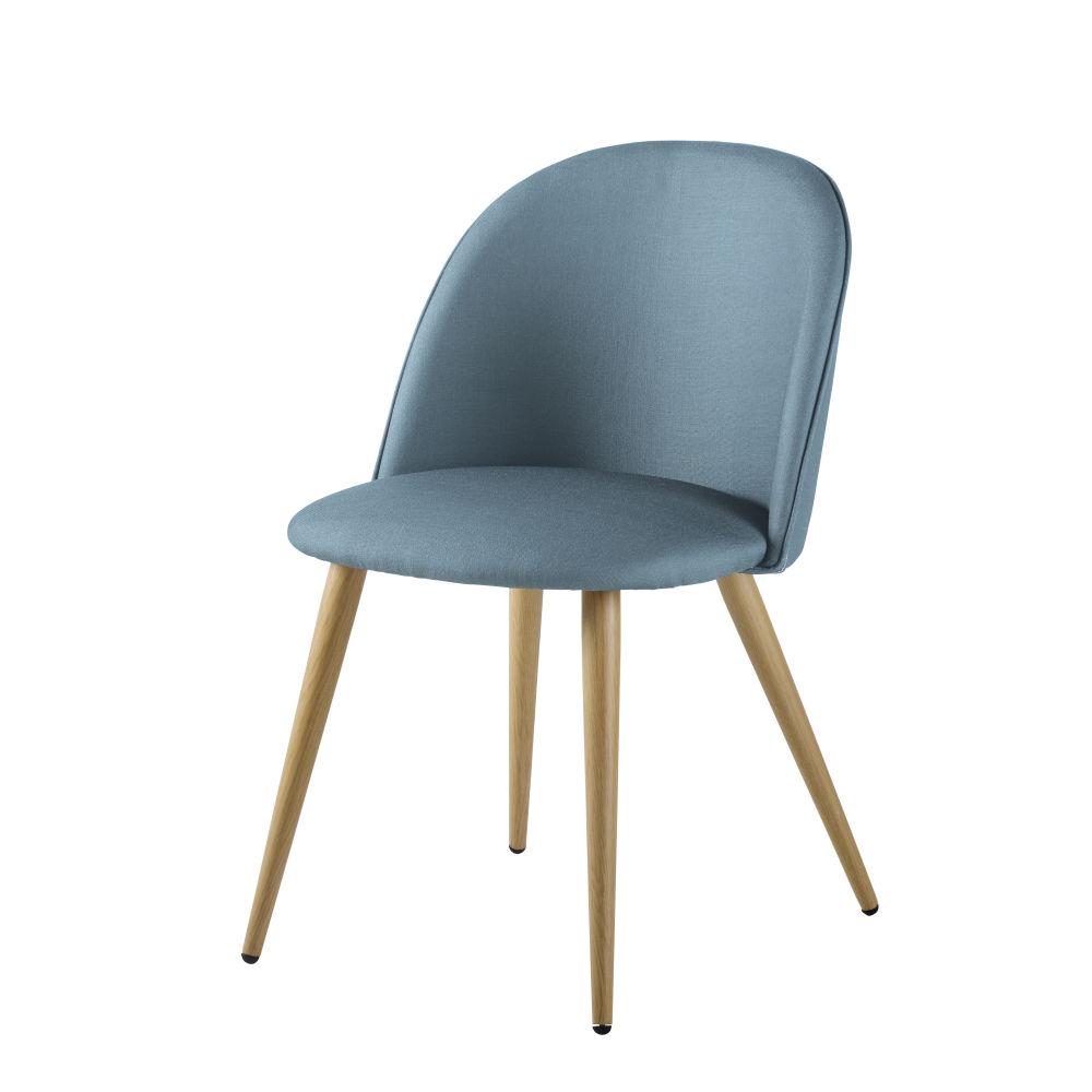 Chaise vintage bleu glacier et métal imitation chêne
