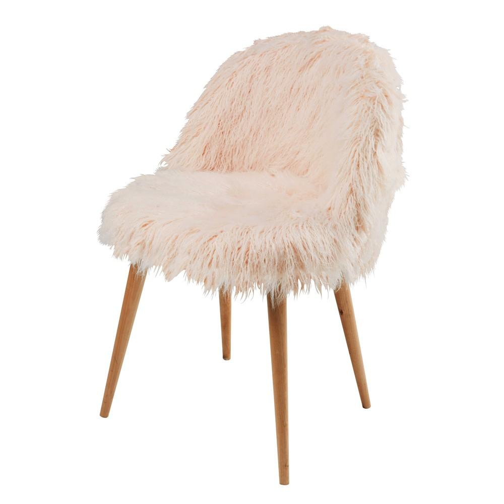 Chaise vintage en fausse fourrure rose et bouleau