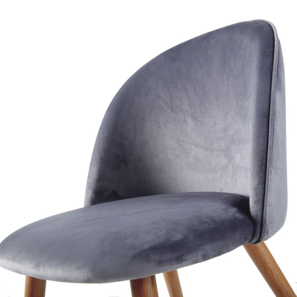 Chaise vintage en velours gris acier et métal imitation chêne